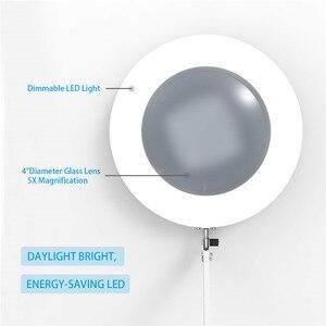 """Image 3 - Led拡大鏡テーブルランプ金属クランプスイングアームデスク無段階調光3色7ワット拡大鏡ライト3X、4.1 """"直径レンズ建築家"""