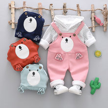 Winter Kids Baby Boys Girls Long Sleeve Fleece T-shirt Tops+Cartoon Bear Overalls Pants 2pcs Casual Clothing Sets Suits(China)