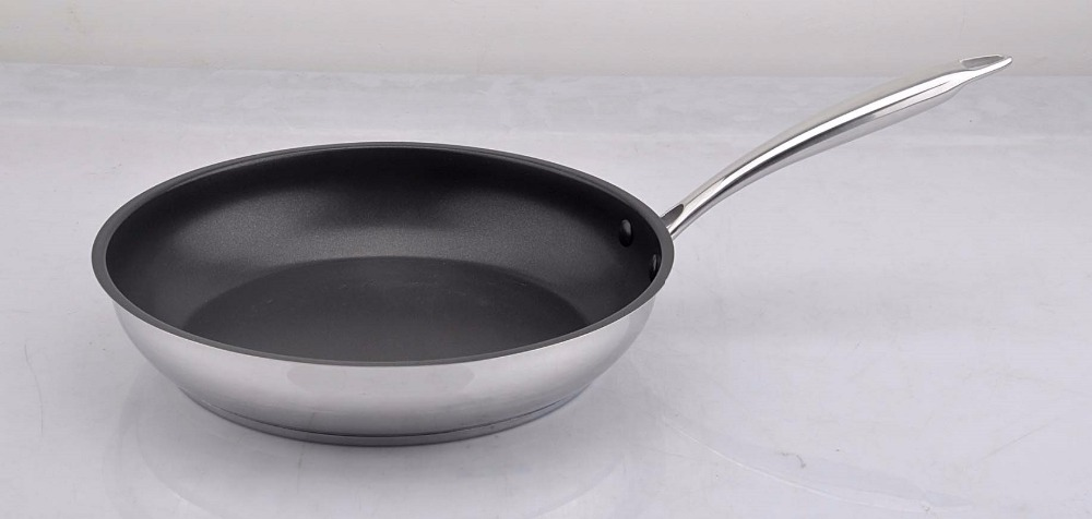 nonstick frying pan inox skillet stainless steel 18 10 frypan health coating with solid thick. Black Bedroom Furniture Sets. Home Design Ideas