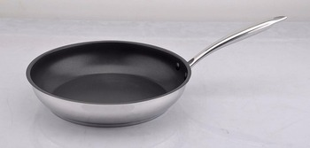 Nonstick Frying Pan Inox Skillet Stainless Steel #18/10 Frypan Health Coating with Solid Thick Handle Kitchen Utensil