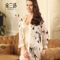 Primavera de seda de la impresión de la mujer manga larga dormir set salón albornoces de calidad