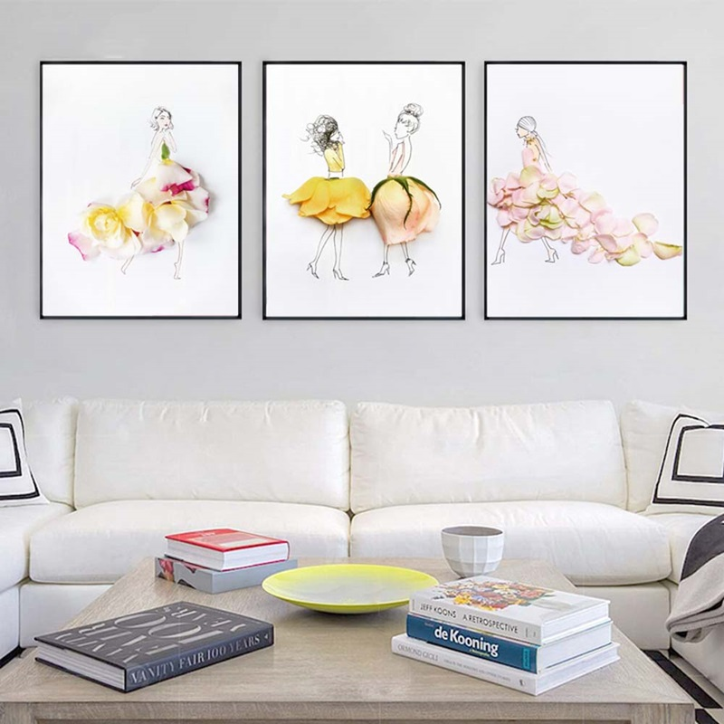 Modular Pictures Woman Painting Nordic-Style Poster Watercolor Abstract Living-Room Canvaswall-Art