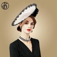 FS Fascinators Ladies Hat For Wedding Beige White Fedora Hats Spring Summer Large Wide Brim Lace Church Kentucky Derby Fedoras