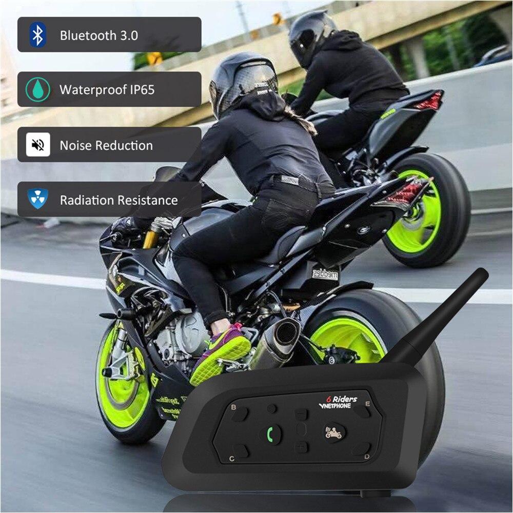 Le meilleur sans fil 1200 M synchrronous multi-interphone casque interphone V6 moto interphone Bluetooth casque casques pour 6 coureurs