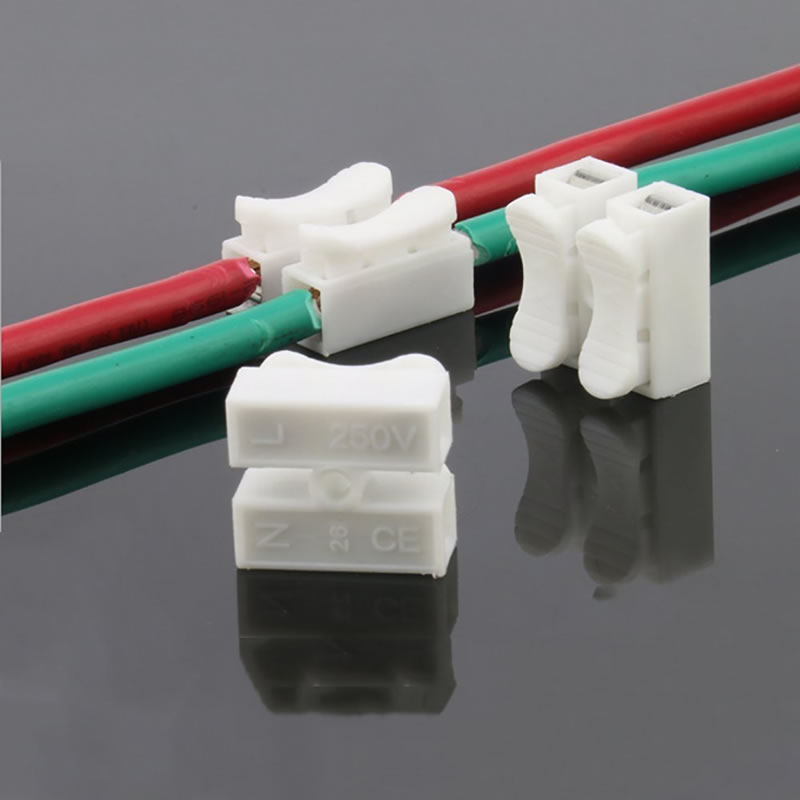 20X 2P Spring Wire Connectors Electrical Cable Clamp Terminal Block Connector LED Strip Light Wire Quick Connecting excellway ch2 quick wire connector terminal block spring connector led strip light wire connector