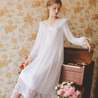 2019 Sexy V neck Princess Sleep Wear Night Dress Vintage Nightgown Long Sleeve Nightdress Cotton Sleepwear Women Nightshirt