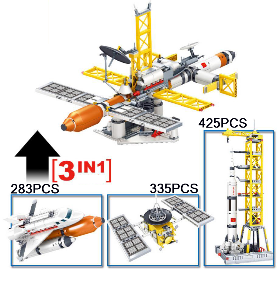 City avation 3in1 Space flight station block Discovery Spacecraft Saturn V rocket education toys figures Astronaut minifigs