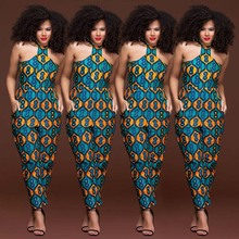 Summer Women Wax Jumpsuit African Print Ethnic Style Sexy Sleeveless Vest Strapless Long Pants Afripride Female Bodycon Clothes
