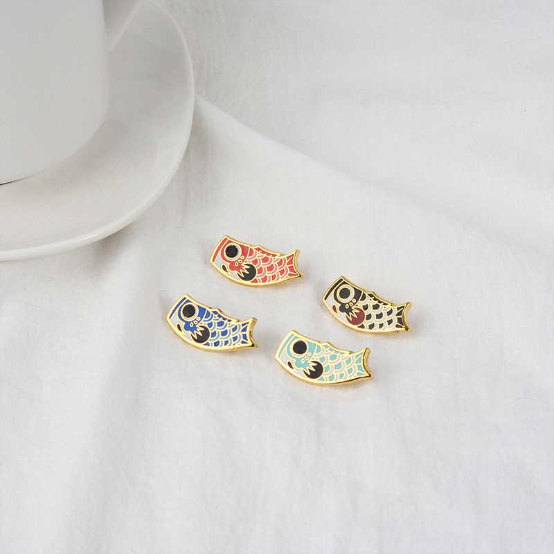 4 colores banderas de calamar broches de esmalte estilo japonés botón Pin bolsa sombrero ropa insignia de dibujos animados joyería regalo para amigos