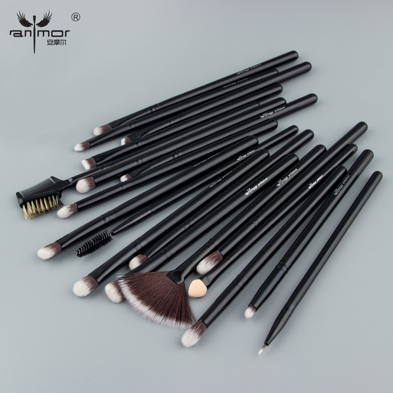 Anmor Professional Eye Make Up <font><b>Brushes</b></font> With Bag High Quality Synthetic Hair Fan Eyeshadow Blending <font><b>Brush</b></font> For <font><b>Makeup</b></font> <font><b>19PCS</b></font>/ <font><b>Set</b></font> image