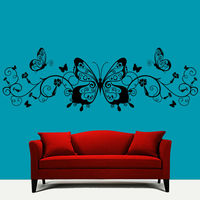 Flower Butterflies Wall Sticker Living Room Removable Home Decor Vinyl White Wall Decal