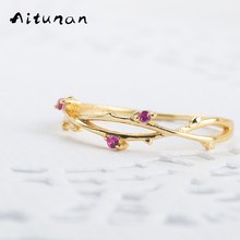Aitunan Red Stone Ring 925 Silver Rose Vine Rings For Women Unique Thin Rings Gold Color 925Silver Wedding Jewelry Accessories