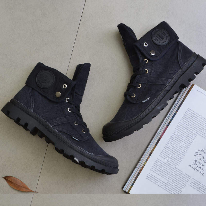 2018 New Top Quality Canvas Men Boots Lace Up Male Canvas Shoe Ankle Palladium Cowboy Motorcycle Boots Fashion Military Desert