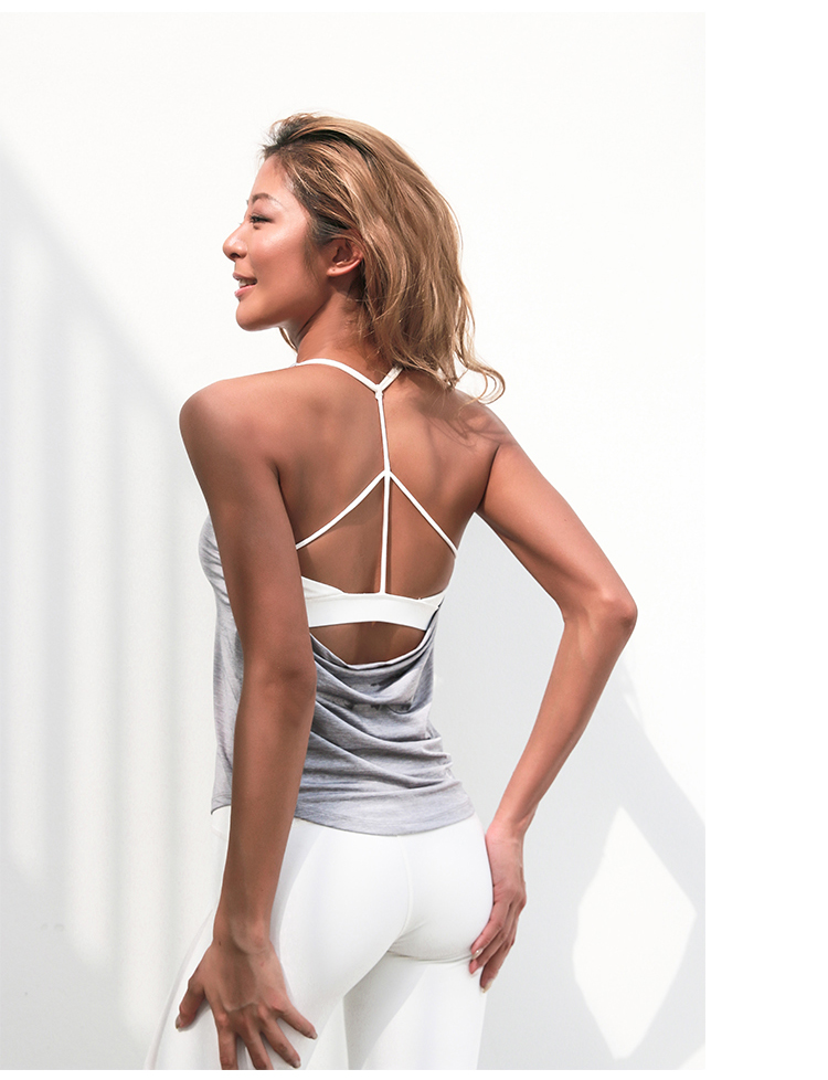 0c93a592a9e95 Openback Yoga Shirts With Built In Bra Sleeveless Sports T Shirts Fitness  Activewear Dri-Fit Strappy Workout Tops For Women Gym