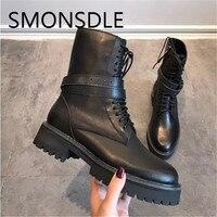 SMONSDLE новый черный Женские полусапожки из натуральной кожи круглый носок с перекрестной шнуровкой коренастый на низком каблуке Для женщин О