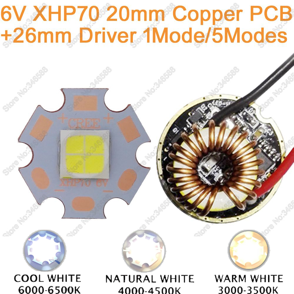 Cree XHP70 Cool White,Neutral White, Warm White 6V High Power LED Emitter Diode 20mm Copper PCB + 26mm 1 Mode or 5 Modes Driver 1pcs cree xlamp xhp 70 xhp70 6v warm neutral cold white 30w high power led emitter chip blub lamp light with 20mm pcb heatsink