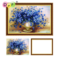 DPF 5D Diamond Embroidery Blue Flower With Frame Diamond Painting Cross Stitch Full Round Diamond Mosaic
