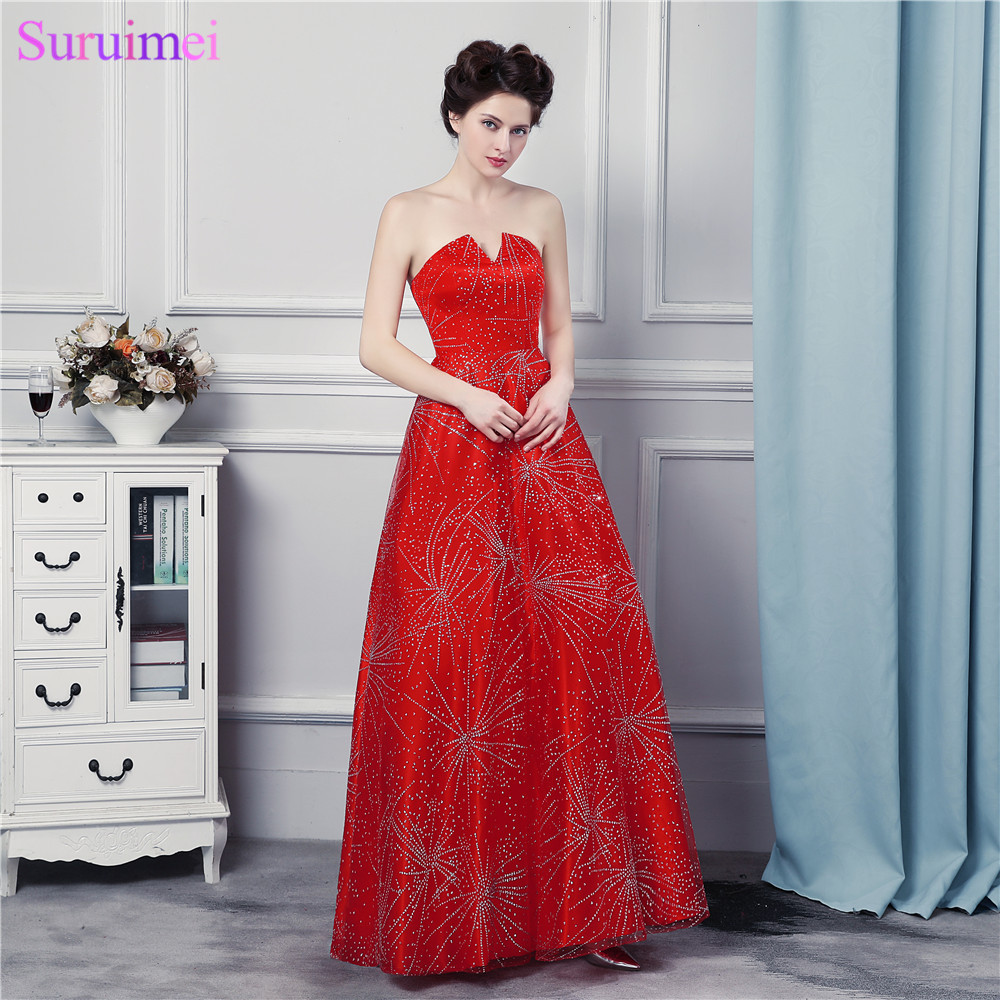 Luxurious   Evening     Dresses   Small V neck Beaded Shining Crystals Beaded Floor Length Long Red   Evening   Gown