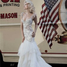 SexeMara Open Back Floor Length Court Train Wedding Dresses