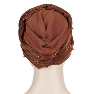 Image 4 - Müslüman kadınlar boncuk başörtüsü elastik türban şapka kemo kanseri kap arap başörtüsü Wrap kapak başörtüsü İslam bandanalar aksesuarları