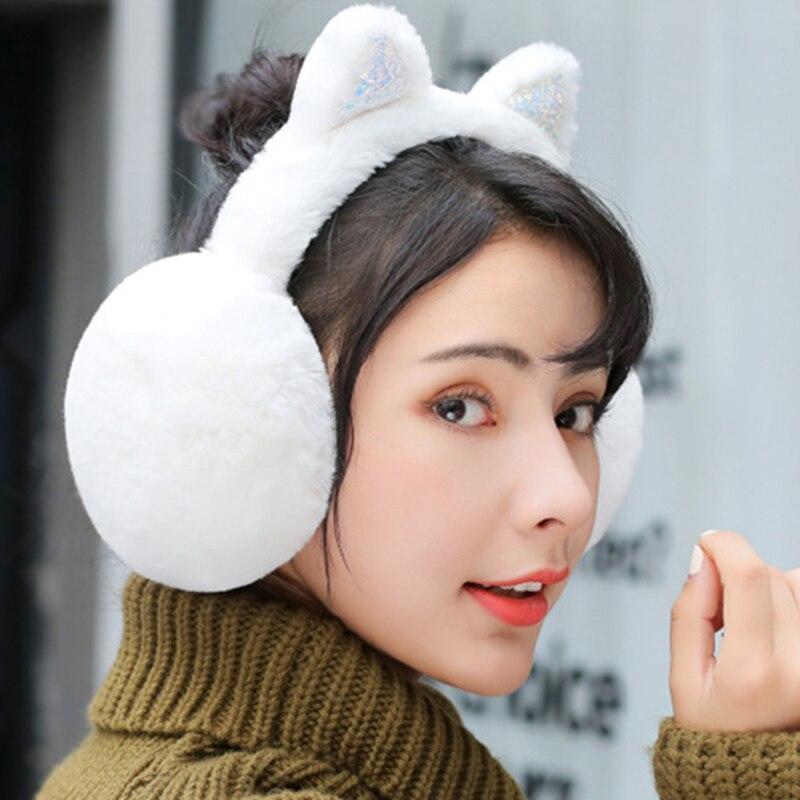 100% Wahr Frauen Cartoon Katze Ohren Design Winter Warme Einstellbare Ohrenschützer Outdoor Winddicht Ohr Muffs Neue