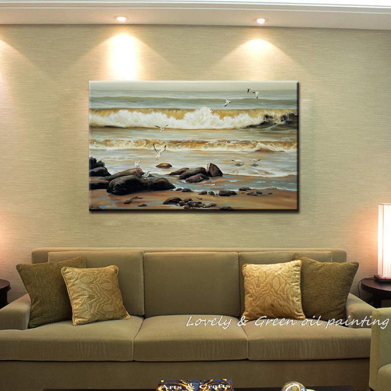 ⃝Pintado a mano Haick Wall Art Gaviota las olas del mar decoración ...