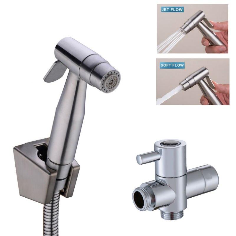 2 Function 304 Stainless Steel Toilet Hand held Bidet Spray Bathroom ...