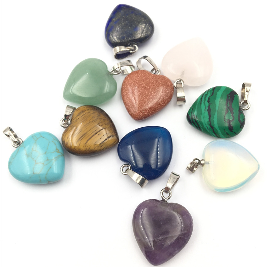 10PCS Wholesale Assorted 20MM Heart Pendant Natural Stone Crystal Jades Amethysts Charms ...