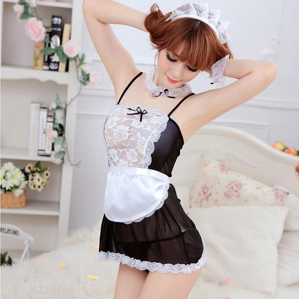 Women Maid Lingerie Outfit Fancy Dress Halloween Costume Babydolls Cosplay