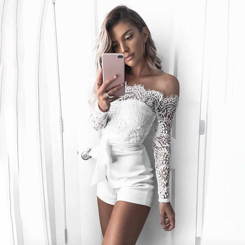 fffd6733617 Detail Feedback Questions about New Lace Off Shoulder Bodysuit Women See  Through Long Sleeve Skinny White Women Rompers Casual Feminino Jumpsuit  Shorts ...