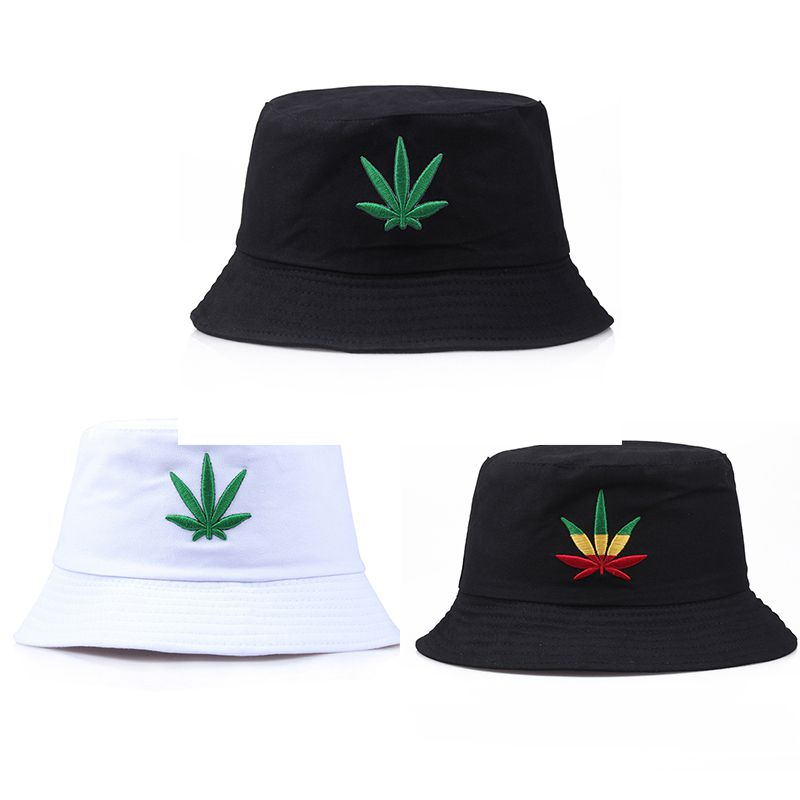 Bucket Hat Maple Leaf Embroidered Packable Foldable Sunshade Cotton Cap Outdoor Beach Sun Fashion Panama Fishing Fisherman Hat