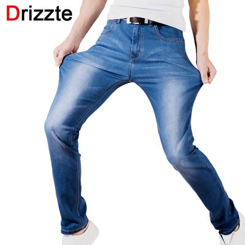 fb28e51d3e3 Drizzte летние классические джинсы Casusal небесно-голубой черный тонкий  Slim Fit стрейч джинсы Брендовые мужские