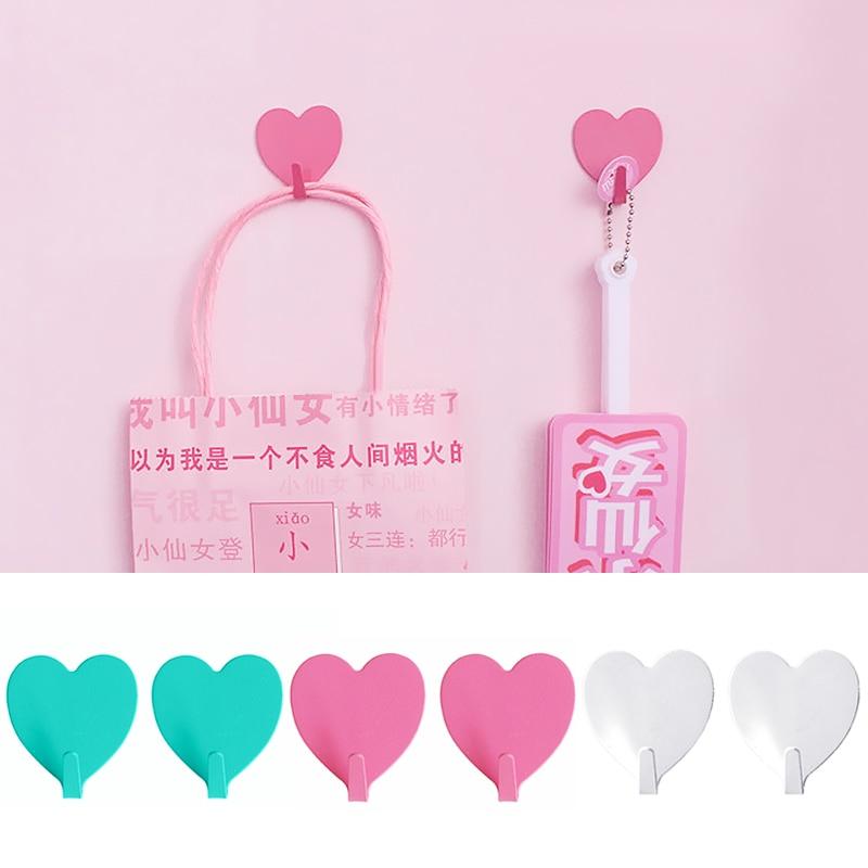 Hot Sale 2PCS/Pack Wall Mounted Pink Blue Stainless Steel Organizer Sticky Hooks White Shiny Heart Shape Creative Storage Hook