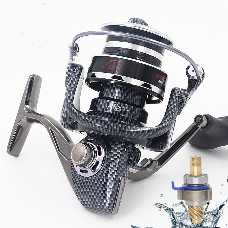 5.2:1 12+1BB Seamless Metal Spinning Fishing Reel Carp Bass Sea Fishing Reel Fishing Tackle DT4000-7000 Game small long shot