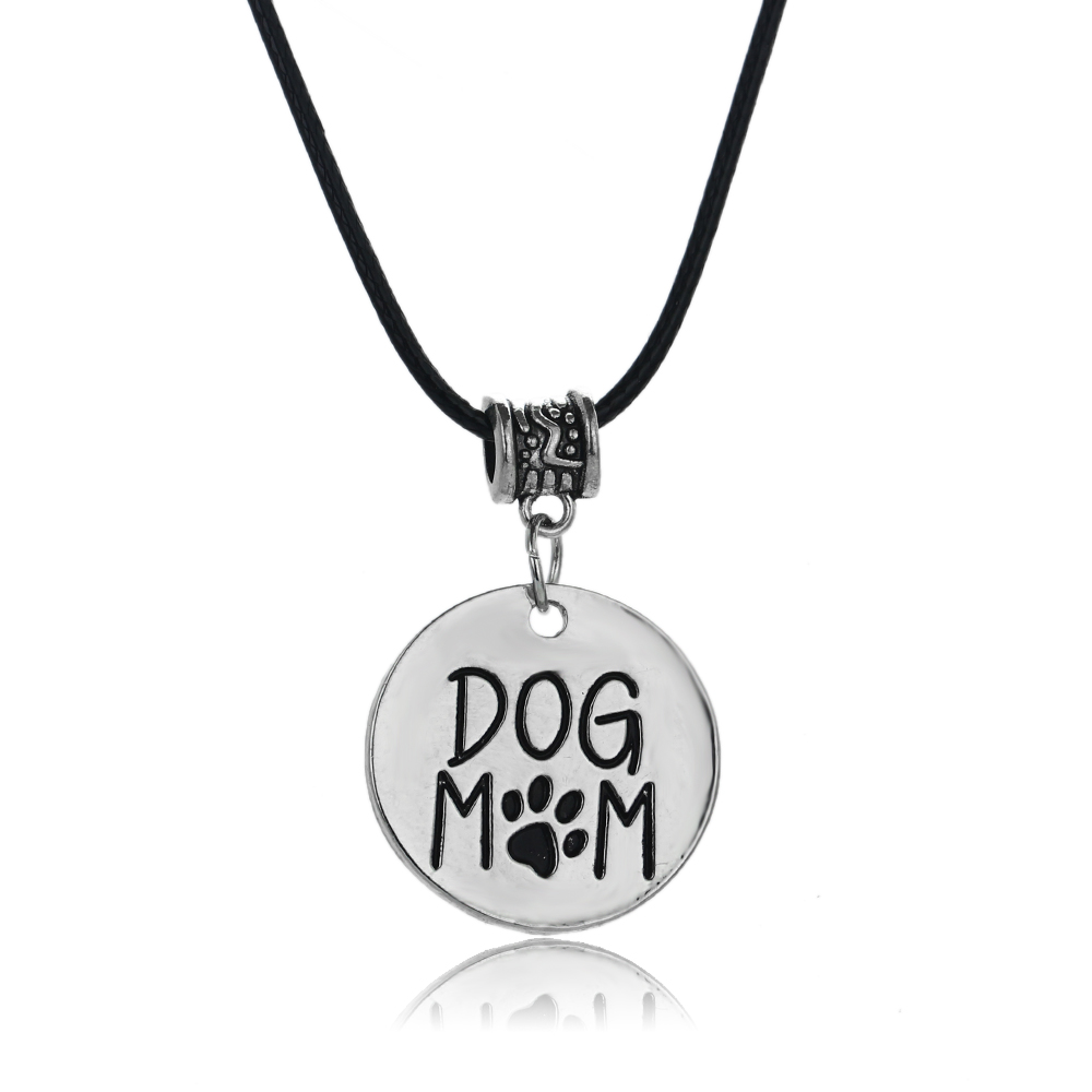 Charm Dog Mom Paws Print Pendant Leather Chain Necklace Mothers Gifts Dog Tag Family Love Necklaces Jewelry Women Mommy Bijoux