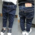 New arrival 2017 spring children boys girls blue color casual letters pattern label jeans pants 3-8 years !