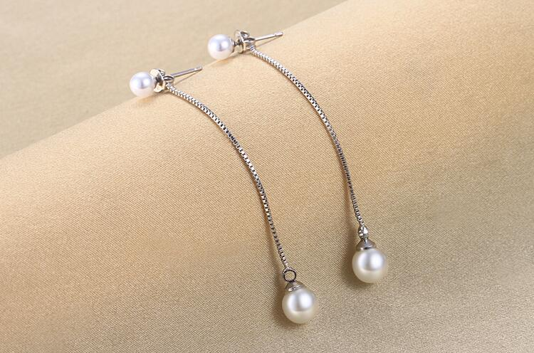 2017 hot sell high quality fashion shell pearl 925 sterling silver ladies long stud earrings jewelry wholesale birthday gift in Stud Earrings from Jewelry Accessories