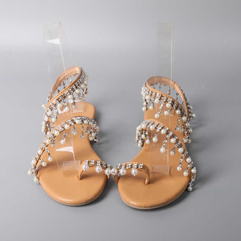 a28685b6f ... 2019 Sandal Women Casual Woman Flat Sandal Pearl Flat Sandals String  Bead Comfortable Sandalias Sapatos Femininos ...