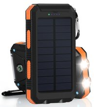 8000mAh 5V/1A Universal Solar Charger Dual USB External Charger Battery Power Bank 2 led light High Capacity Solar Powerbank universal folding solar powered 5v 12w 4500mah dual usb li polymer battery power bank camouflage