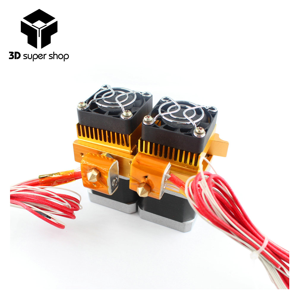 Mk8 12v Dual Head Nozzle Extruder Double Print Head For Makerbot 3D Printer With 1.75mm metal 3d printer supplies