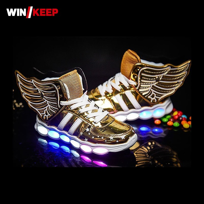 New Wing Led Luminous Children Dance Shoes USB Light Up Boys Girls Sneakers Antiskid Outdoor Running Sports Kids Glowing Shoes 25 40 size usb charging basket led children shoes with light up kids casual boys