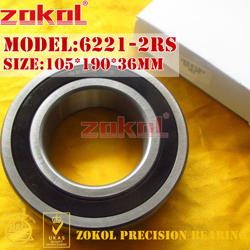 ZOKOL 6221RS bearing 6221 2RS RS 180221 Deep Groove ball bearing 105*190*36mm zokol bearing 6318 318 deep groove ball bearing 90 190 43mm