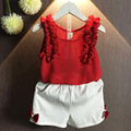 Muchachas Que Arropan verano 2016 Sin Mangas Rojo Princesa Chaleco de La Gasa Top Blanco Bowknot Shorts Girls Outfits Toddler Clothes 2 unids