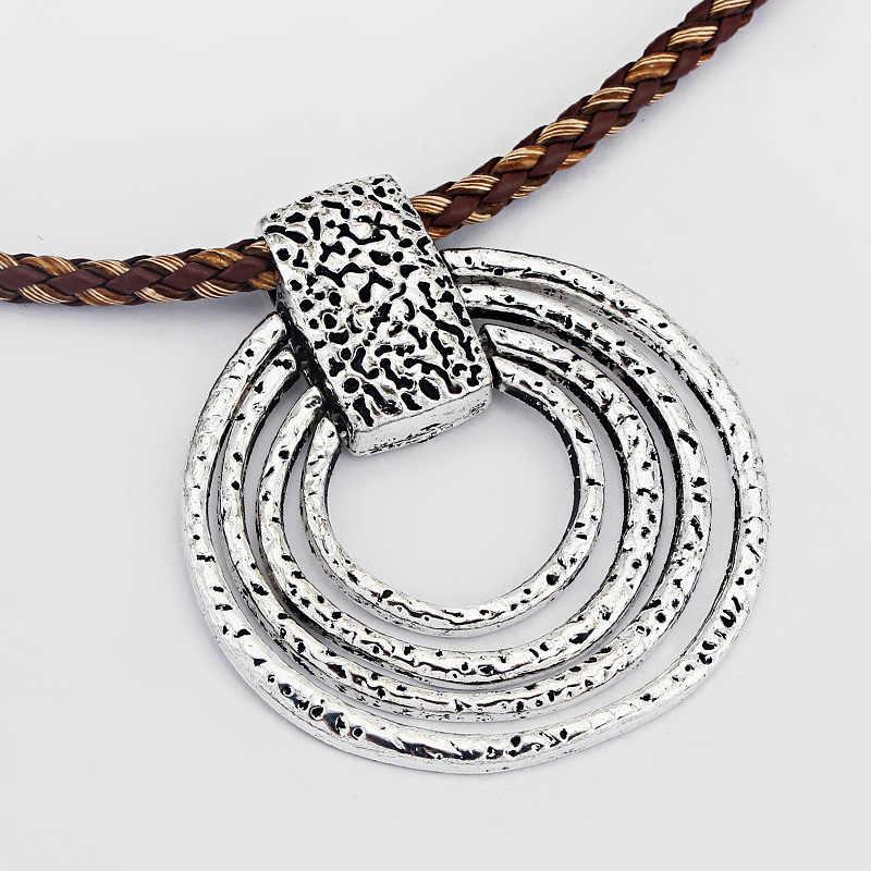 materiales superiores pero no vulgar Productos 2 piezas de plata antigua cuello redondo cuatro grandes círculo Simple  dijes colgantes para collar pulsera hacer joyería de moda hallazgos 67x 63mm