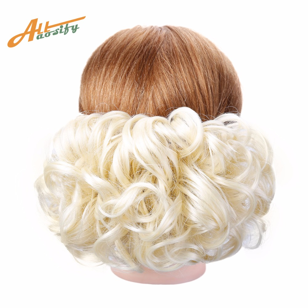 Allaosify  Synthetic Hair Big Bun Chignon Elastic Comb Clips In Hair Extension Hairpiece Accessories Multiple Colors