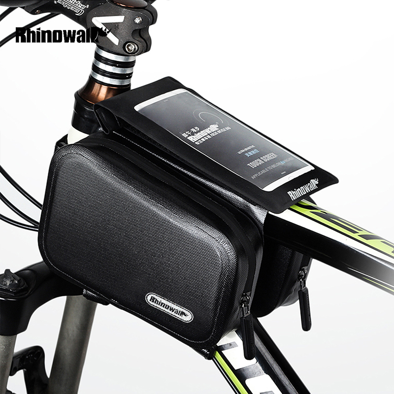 RHINOQWALK 6 Inch Waterproof TPU Bicycle Top Tube Bag MTB Bike Front Frame Phone Bag Cycling Mobile Holder Case Front Panniers
