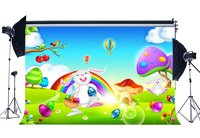 Happy Easter Bunny Backdrop Painted Eggs Backdrops Hoy Air Balloon Green Grass Meadow Blue Sky White Cloud Background