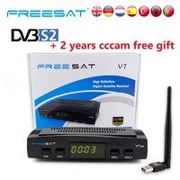 FREESAT V7 HD DVB S2 Digital Satellite TV Receiver Decoder with USB WiFi Antenna Receiver Sat FTA 1080P Full HD and 2 year cccam