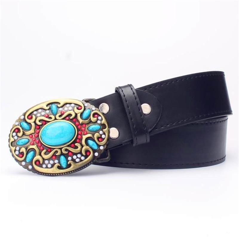 Mode Frauen Ledergürtel böhmischen Stil Edelstein Perlen Gürtel - Bekleidungszubehör - Foto 6