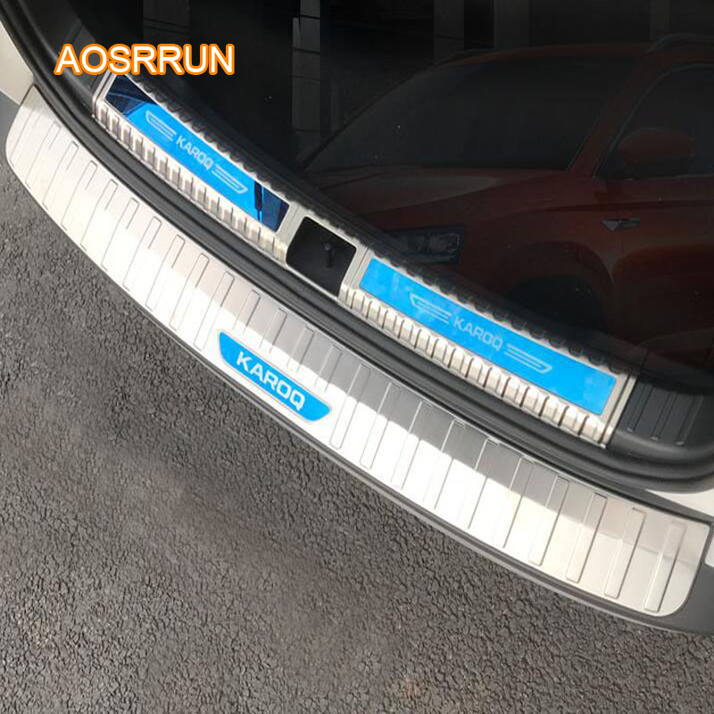AOSRRUN Stainless steel rear guard bar rear guard against scratches and scratches cover Car accessories FOR Skoda Karoq men scratches print tee